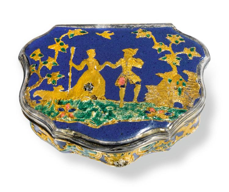 AN ENAMEL SNUFF BOX WITH SILVER-GILT MOUNTS, CIRCA 1740 | An enamel snuff box with silver-gilt mounts, circa 1740