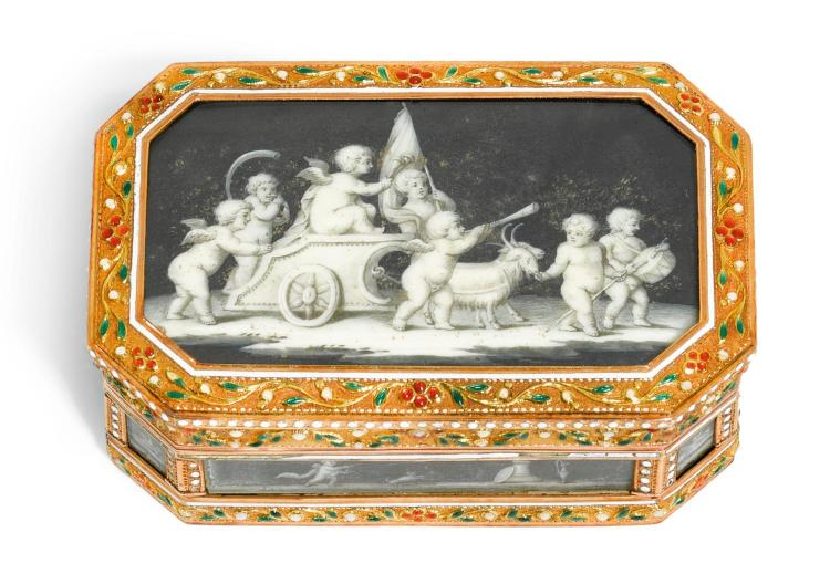 A GOLD AND ENAMEL CAGEWORK PATCH BOX SET WITH MINIATURES ON IVORY, CIRCA 1780 | A gold and enamel cagework patch box set with miniatures on ivory, circa 1780
