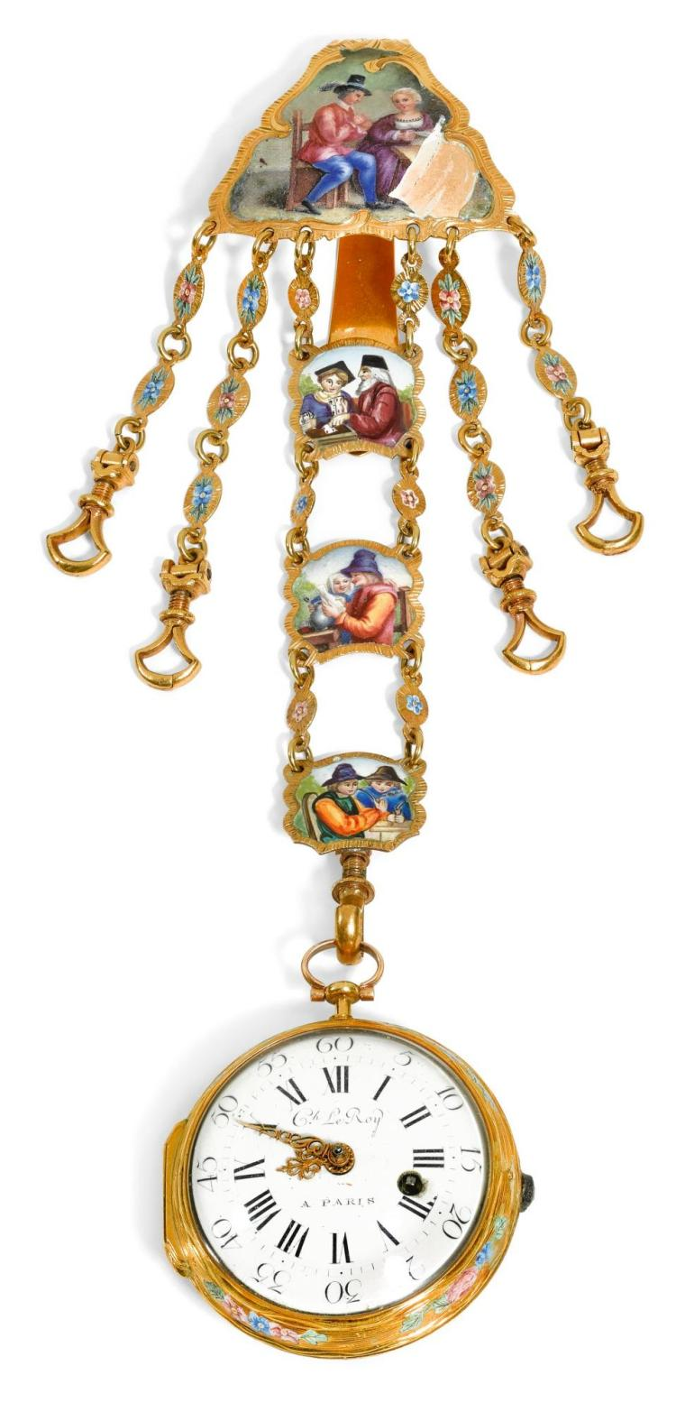 A GOLD AND ENAMEL VERGE WATCH AND CHATELAINE, FRENCH, CIRCA 1770 | A gold and enamel verge watch and chatelaine, French, circa 1770