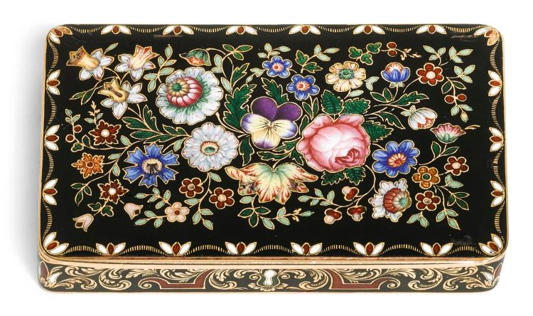A GOLD AND ENAMEL SNUFF BOX, GENEVA, CIRCA 1835 | A gold and enamel snuff box, Geneva, circa 1835
