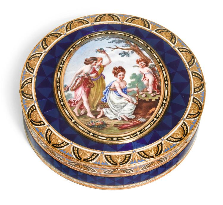 A GOLD AND ENAMEL SNUFF BOX, RÉMOND, LAMY & CO., GENEVA, 1801-1804 | A gold and enamel snuff box, Rémond, Lamy & Co., Geneva, 1801-1804