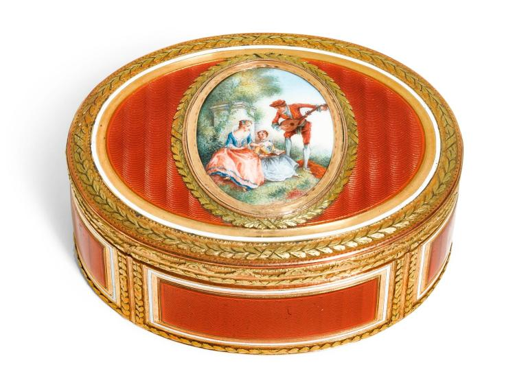 A TWO-COLOUR GOLD AND ENAMEL SNUFF BOX, ESAIAS FERNAU, HANAU, CIRCA 1780 | A two-colour gold and enamel snuff box, Esaias Fernau, Hanau, circa 1780