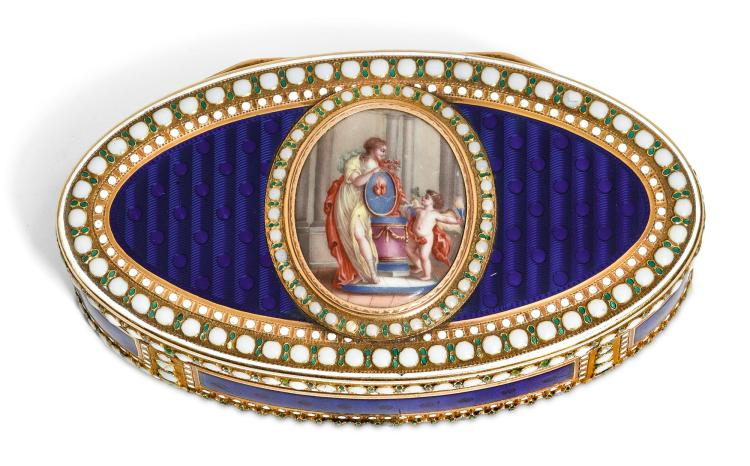 A GOLD AND ENAMEL SNUFFBOX, LES FRÈRES TOUSSAINT, HANAU, CIRCA 1785 | A gold and enamel snuffbox, Les Frères Toussaint, Hanau, circa 1785