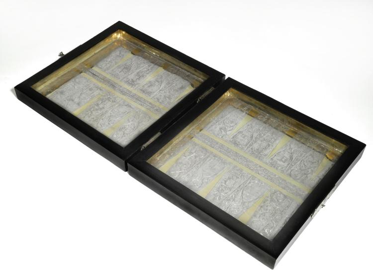 AGERMAN ENGRAVEDPARCEL-GILT SILVER MOUNTED WOOD GAMES BOARD, UNMARKED, CIRCA 1680  