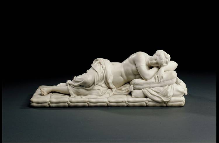 AN ENGLISH MARBLE RECLINING FIGURE OF ARIADNE ATTRIBUTED TO LAURENT DELVAUX (SECOND QUARTER 18TH CENTURY)