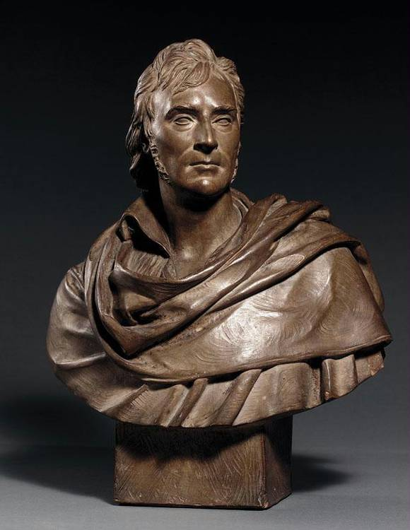 A FRENCH TERRACOTTA PORTRAIT BUST OF BARON GROS BY DAVID D'ANGERS, (DATED 1821)