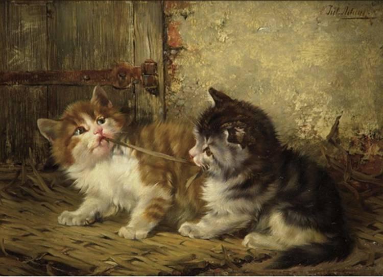 JULIUS II ADAM 1852-1913 LITTLE FIGHTERS