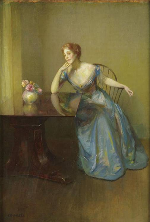 EDWARD AUGUST BELL 1862-1953 BLUE AND BROWN