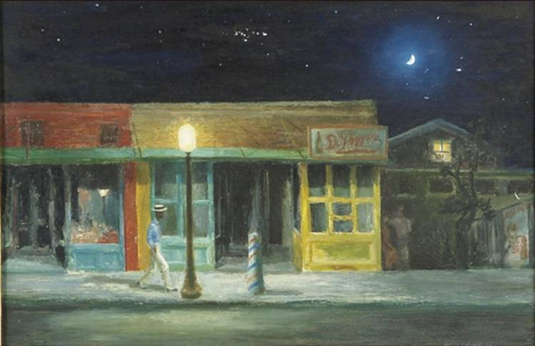 AARON BOHROD 1907-1992 LOUISIANA TOWN AT NIGHT