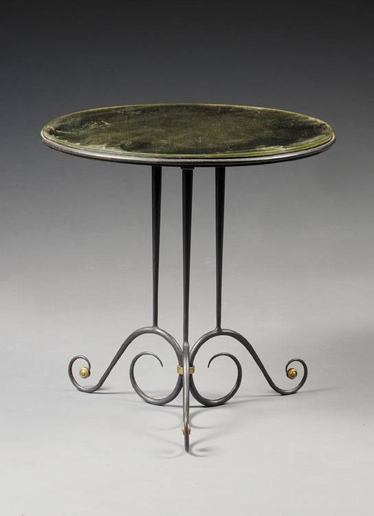 w - ROBERT BLOCK A WROUGHT IRON MIRROR TOPPED OCCASIONAL TABLE 1938