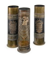 GROUP OF THREE DAMASCENED SHELL CASE VASES, PROBABLY JERUSALEM, CIRCA 1919 |