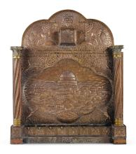 LARGE DAMASCENED BRASS SYNAGOGUE HANUKAH LAMP, 20TH CENTURY |