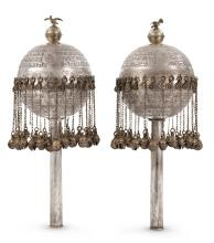 PAIR OF PARCEL-GILT SILVER TORAH FINIALS, PROBABLY BOKHARA, 20TH CENTURY |
