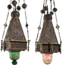 PAIR OFDAMASCENEDBRASS HANGING LAMPS, NEAR EASTERN, CIRCA 1920 |