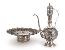 NEAR EASTERNSILVER ROSEWATER EWER AND BASIN, PROBABLY JERUSALEM, 20TH CENTURY |