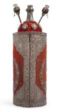 VELVET-COVERED TORAH CASE MOUNTED IN SILVER, PEWTER, AND ALPACA, POSSIBLY EGYPT, DATED 1911 |