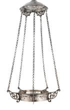 NORTH AFRICAN SILVER HANGING MEMORIAL LAMP, MOROCCAN OR TUNISIAN, DATED 1899 |