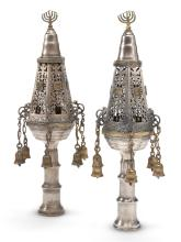 PAIR OF NORTH AFRICAN PARCEL-GILT SILVER TORAH FINIALS, EARLY 20TH CENTURY |