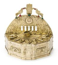 NORTH AFRICAN GOLD HANUKAH LAMP, TUNISIA, DATED 1923 |