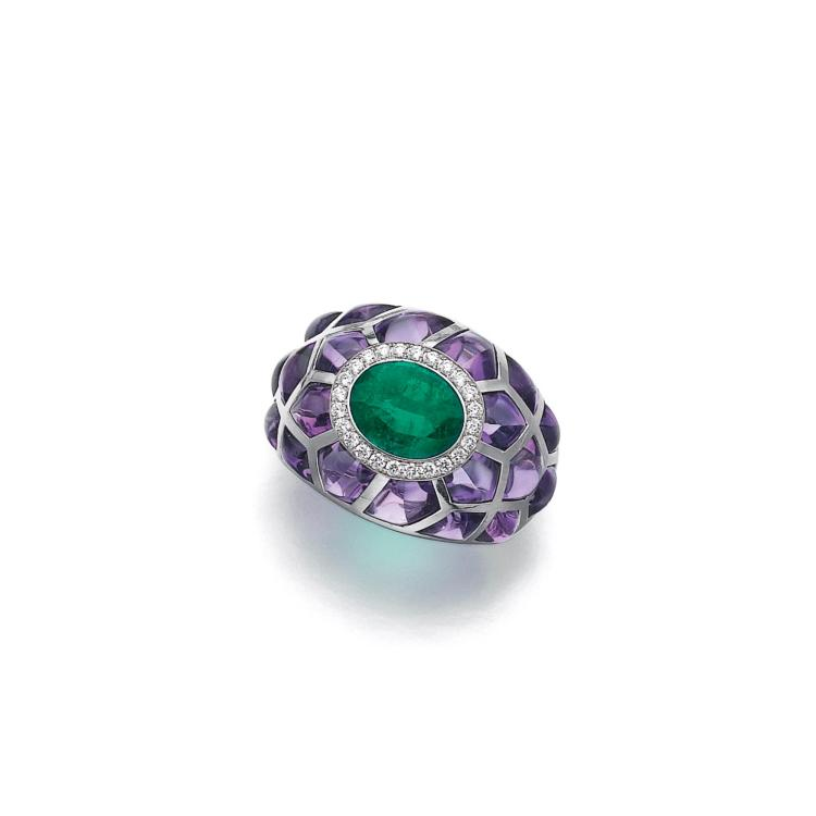 emerald amethyst and ring michele della valle