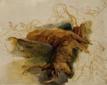 SIR EDWIN HENRY LANDSEER, R.A. | A dead stag, with sketched figures of a ghillie and hounds