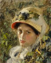 ANTONIO MANCINI | Woman in a straw hat