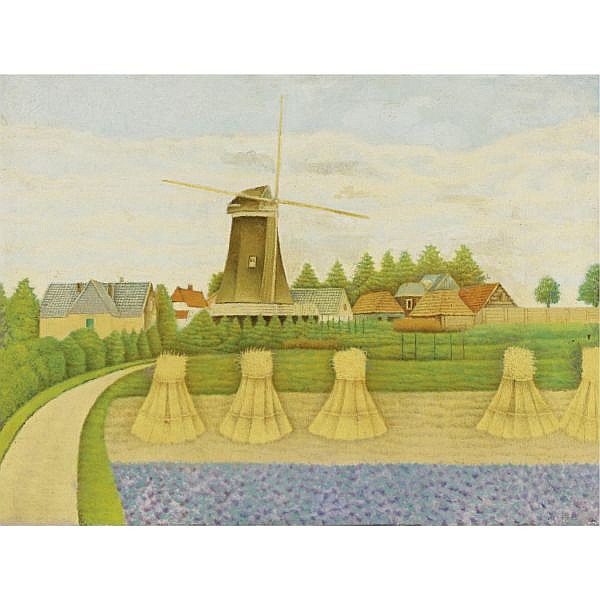 Sal Meijer 1878-1965 , Village with Windmill and Cornfield oil on canvas