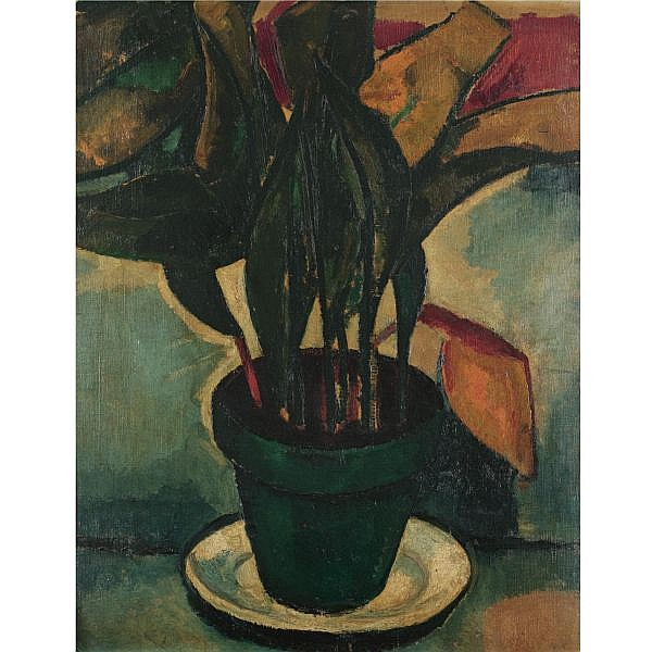 Béla Adalbert Czóbel 1883-1975 , Plant in a Green Pot oil on canvas laid on board