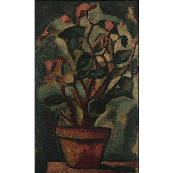 Béla Adalbert Czóbel 1883-1975 , Flowers in a Terracotta Pot oil on canvas laid on board