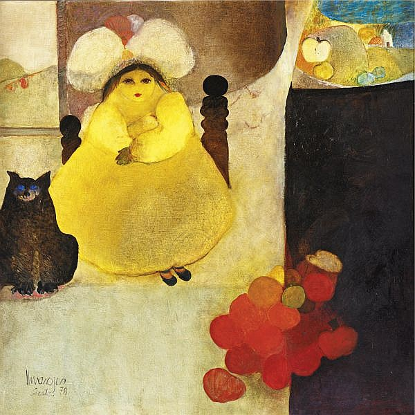 Elmar Rojas b. 1938 , La nina reina del campo oil on canvas