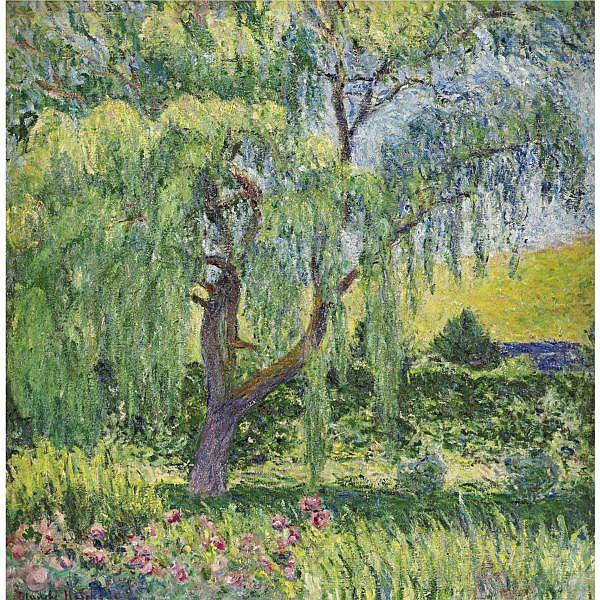 Blanche Hoschedé-Monet 1865-1947 , Giverny, le saule et la roseraie oil on canvas