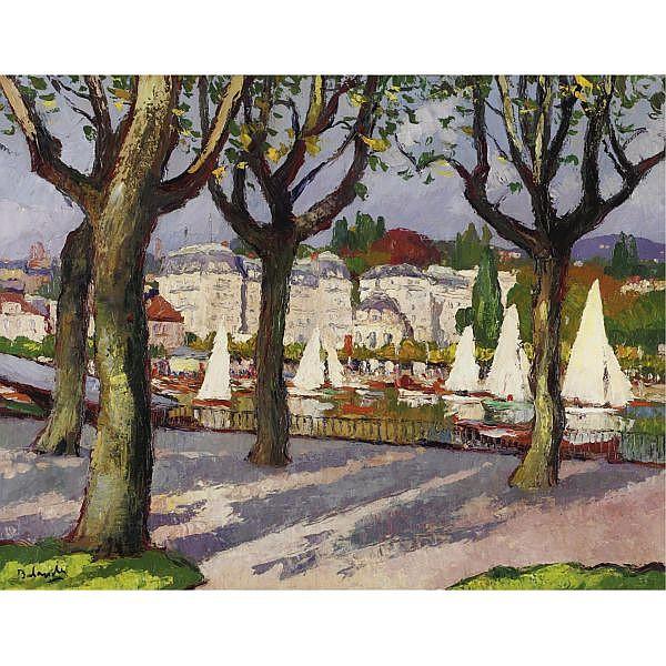 Gaston Balande 1880-1970 , Le Lac d'Annecy oil on canvas