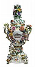 A MEISSEN LARGE FLOWER-ENCRUSTED COMMEMORATIVE POT POURRI VASE, COVER AND STAND<BR>1874 |
