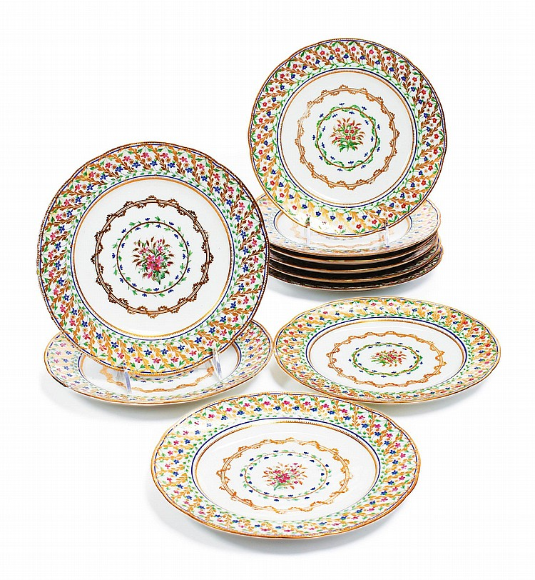 AN ASSEMBLED SET OF TEN SÈVRES DINNER PLATES<BR>CIRCA 1780-90 |
