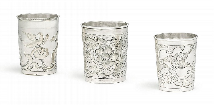 THREE RUSSIAN SILVER BEAKERS, MOSCOW, SECOND HALF 18TH CENTURY |