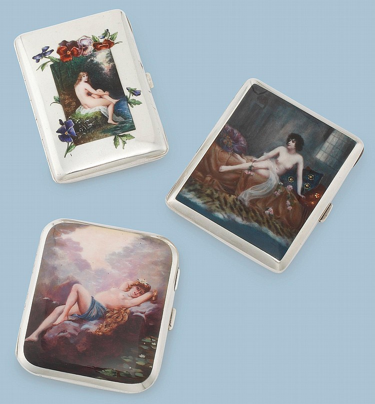 THREE EROTIC SILVER CIGARETTE CASES WITH SEATED NUDES, EARLY 20TH CENTURY |