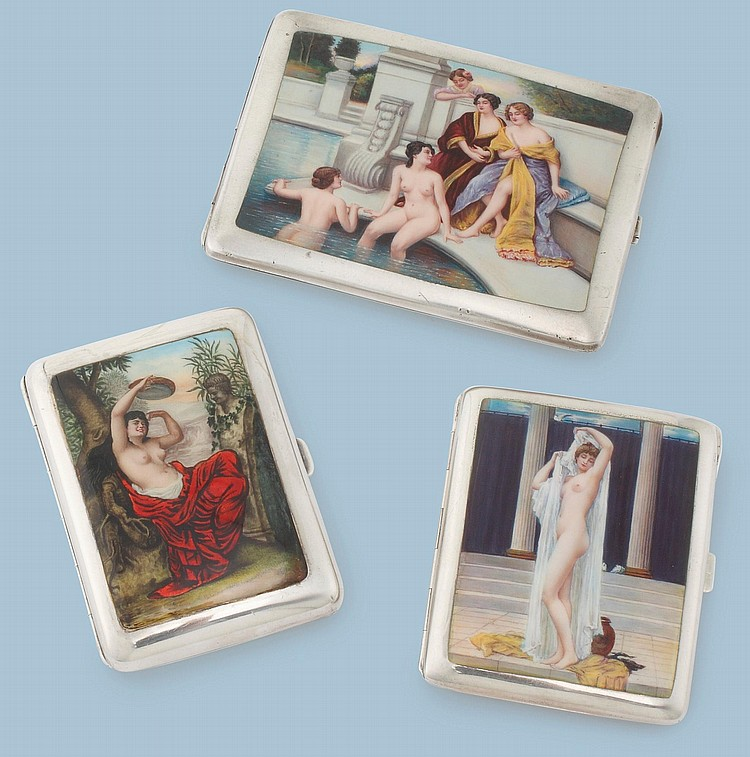 THREE EROTIC SILVER CIGARETTE CASES WITH CLASSICAL SCENES, EARLY 20TH CENTURY |