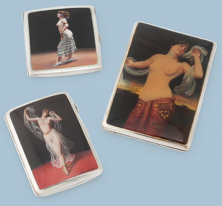 THREE EROTIC SILVER CIGARETTE CASES WITH BELLY DANCERS, EARLY 20TH CENTURY |
