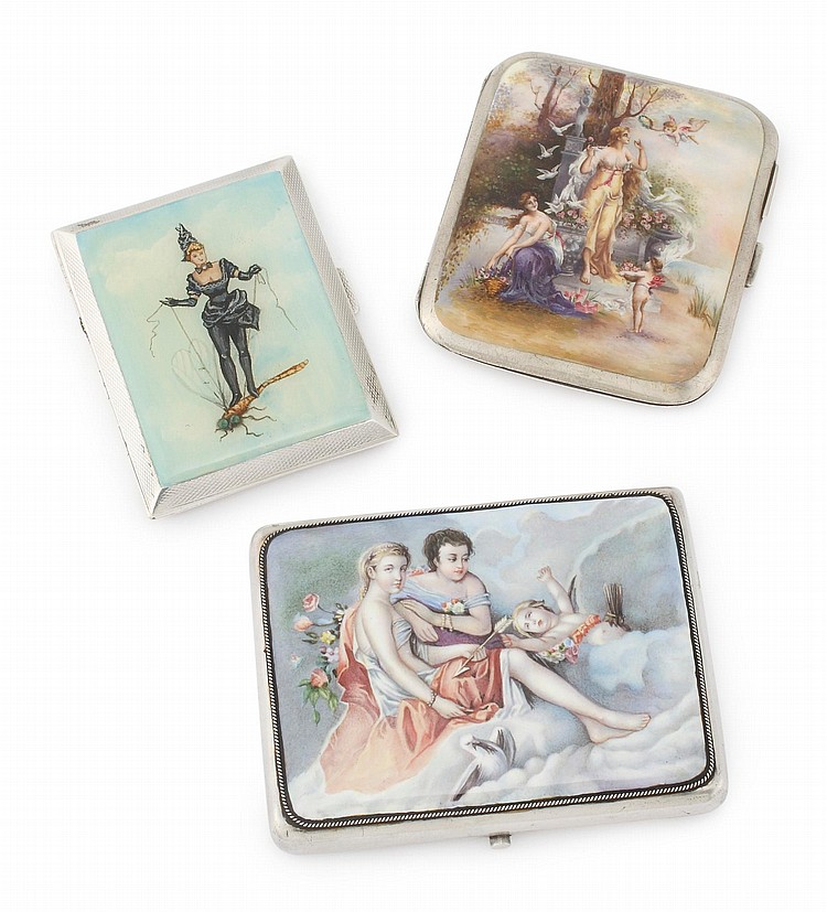 TWO SILVER CIGARETTE CASES WITH FEMALE FIGURES, EARLY TO MID 20TH CENTURY |