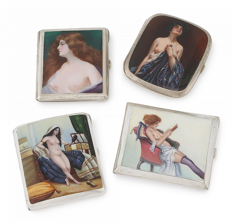 FOUR EROTIC ALPACA CIGARETTE CASES, MID 20TH CENTURY |