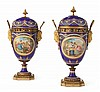 A PAIR OF ORMOLU-MOUNTED PAINTED AND JEWELED ENAMEL POT-POURRI VASES AND COVERS, PROBABLY FRENCH, CIRCA 1880-90 |