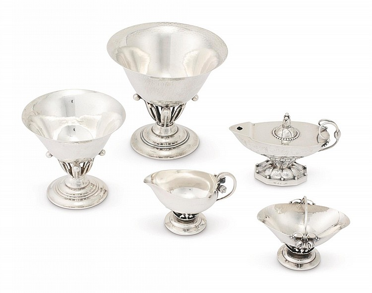 A GROUP OF DANISH SILVER TABLE ARTICLES, GEORG JENSEN SILVERSMITHY, COPENHAGEN, 20TH CENTURY |