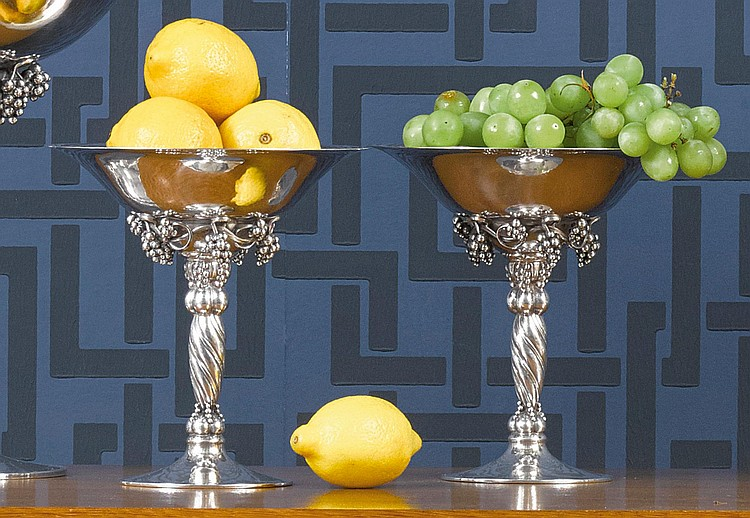 A PAIR OF DANISH SILVER GRAPEVINE PATTERN COMPOTES, NO. 263, GEORG JENSEN SILVERSMITHY, COPENHAGEN, 1925-32 |