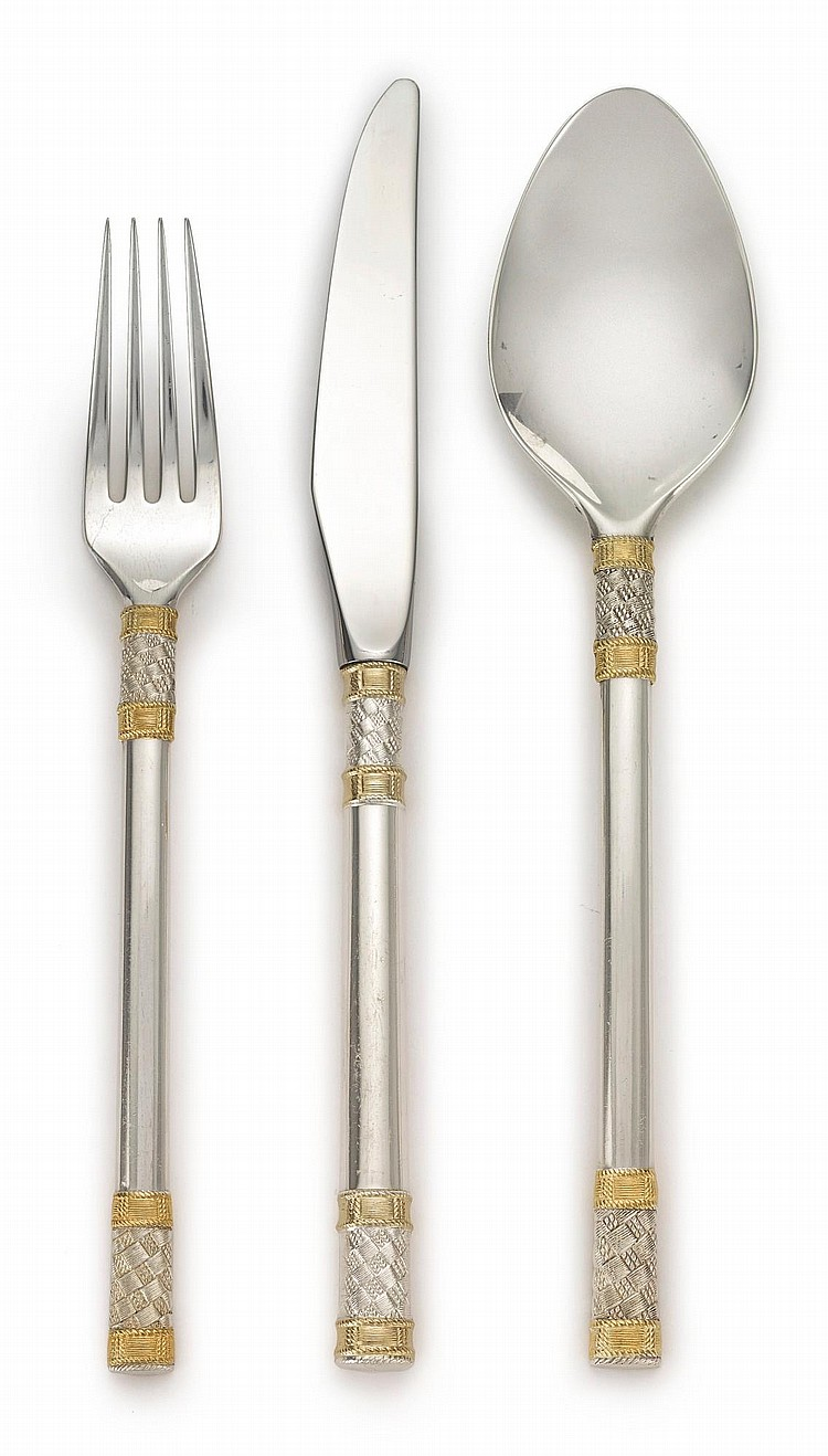 AN AMERICAN PARCEL-GILT SILVER AEGEAN WEAVE PATTERN FLATWARE SERVICE, R. WALLACE & SONS MFG. CO., WALLINGFORD, CT, LATE 20TH CENTURY |