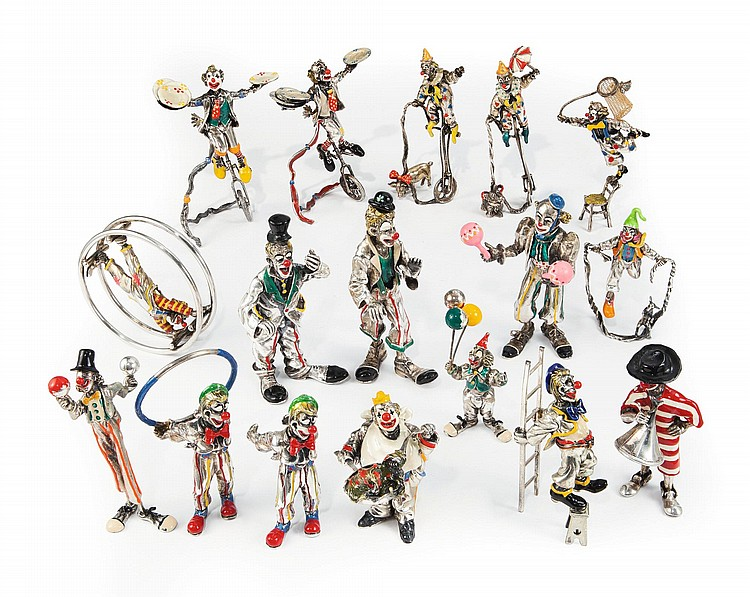 A GROUP OF ITALIAN SILVER AND ENAMEL CLOWNS, SORINI, AREZZO, LATE 20TH / EARLY 21ST CENTURY |