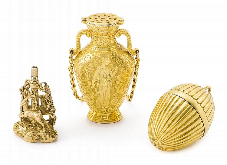 TWO GOLD VINAGRETTES AND A FIGURAL WATCH KEY, EARLY TO MID 19TH CENTURY |