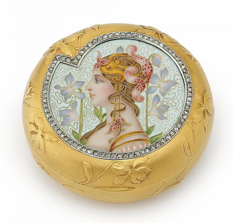 A FRENCH ART NOUVEAU GOLD, DIAMOND, AND CLOISONNÉ ENAMEL BOX, PLISSON & HARTZ, PARIS, 1898-1904 |