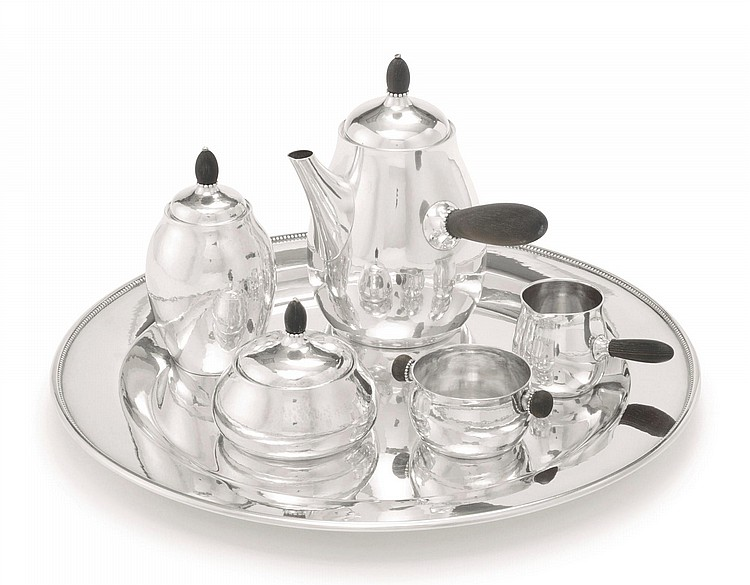 A DANISH SILVER COFFEE SET WITH MATCHING TRAY, NO. 80, GEORG JENSEN SILVERSMITHY, COPENHAGEN, 20TH CENTURY | Five-Piece Coffee Set with Similar Tray, no. 80 and 210C