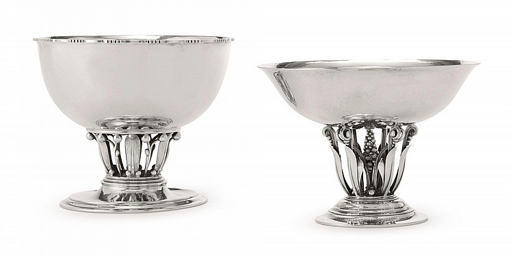 TWO DANISH SILVER BOWLS, NOS. 19A & 171, GEORG JENSEN SILVERSMITHY, COPENHAGEN, 20TH CENTURY | Two Compotes, nos. 19A and 171
