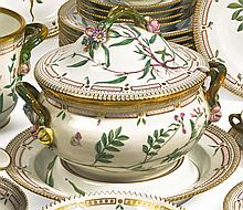 A ROYAL COPENHAGEN 'FLORA DANICA' CIRCULAR SOUP TUREEN, COVER AND STAND<BR>MODERN |